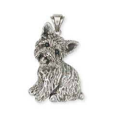 Solid Sterling Silver Yorkshire Terrier Yorkie Charm Jewelry  YK31-P