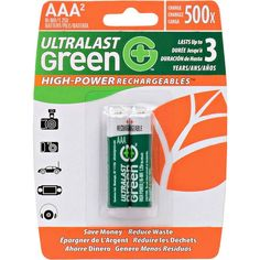 UltraLast Green - High-Power Rechargeables™ Rechargeable AAA Batteries (2-Pack), Green/White