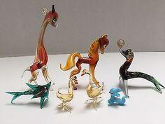 VTG Murano Blown Glass Miniature Animals Giraffe Horse Deal Ducks Fish Puppy
