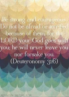 Deuteronomy 31:6 ~~ (KJV) Be strong and of a good courage, fear not, nor be afraid of them: for the Lord thy God, he it is that doth go with thee; he will not fail thee, nor forsake thee.