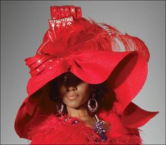 Donna Vinci Exclusive Church Hat in Fabulous Red for the Holidays H1455 $279.00