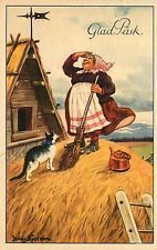 Jenny Nyström Postcard Swedish Easter Witch w/ Broom on Thatched Roof w/ Cat