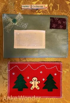 Fabric Christmas Card*Personalized Christmas Card | Free US shipping