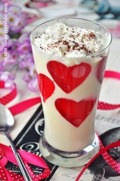 Bon appetit mon amie: Deser walentynkowy II (mus z białej czekolady) Yummy Cakes, Bon Appetit, Panna Cotta, Mango, Pudding, Sweets, Valentines, Ethnic Recipes, Desserts