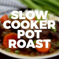 Slow Cooker Pot Roast has the most amazing fall apart juicy meat, perfectly cooked and served with seasoned veggies, white rice, and a delicious gravy. Slow Cooker Pot Roast While my family loves to enjoy Dutch Oven Recipes, Meat Recipes, Slow Cooker Recipes, Gourmet Recipes, Crockpot Recipes, Cooking Recipes, Cooking Ingredients, Cooking Videos, Food Videos