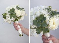 white blooms and green succulents make a gorgeous wedding bouquet! #bouquetblueprint #weddingflowers You can plant the succulents after the wedding!