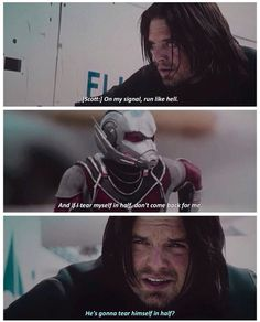 Bucky looks so concerned for this random guy who is fighting for him and may or not tear himself in half.
