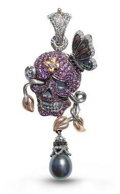 Someday Skull Pendant – Diamonds, Black Sapphire, Pink Garnet & Abalon – Barbara Bixby