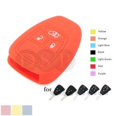 Silicone Skin Cover for CHRYSLER DODGE JEEP Remote Key Case Fob CV4751 OR
