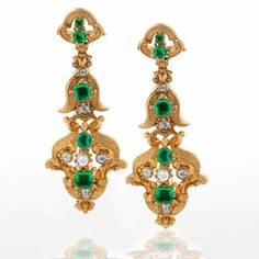 Antique Diamond And Emerald Ear Pendants Set In 18k Gold   c.1840's  -  In The Swan's Shadow