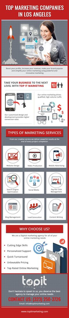 If you are looking for the top marketing companies in Los Angeles that can successfully shoulder your marketing responsibilities then rely on us. At Top It Marketing, we are the trend-setters, who strive hard to take your business to the pinnacle of success. We offer multiple services under one-roof. Some of these are SEO, lead generation, website designing, content writing and a lot more. To learn more, you can visit our website.
