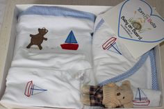 Luxury Gift pack in Seaside Teddies theme for boys - includes embroidered cellular blanket, hood towel, face cloth and baby sleepsuit plus small soft toy! from www.tomandbella.co.za Seaside, Towels, Baby Gifts, Diaper Bag, Blankets, Toy, Luxury, Face