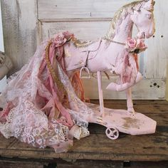 Painted horse statue pink and gold shabby by AnitaSperoDesign