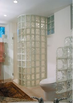 glass block walls in bathrooms | spyra glass block decorative divider wall decora glass block staircase ...