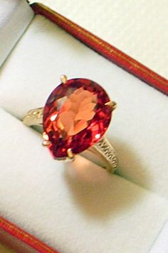 Vintage Padparadscha Ring  Rose Gold Over Sterling  by JanEleven