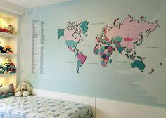 Adesivo de Parede - Mapa-múndi Adesivo com MDF - Tiffany - Interativo | Leandro Selister