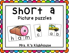 Short a picture puzzles; a fun literacy center! Find it at Mrs. K's Klubhouse.
