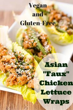 "These #Vegan and #glutenfree Asian ""Faux"" chicken lettuce wraps make for the perfect lunch or dinner. The mix is made with brown rice, chickpeas and nuts -- you would never believe how much it resembles ground meat. Perfect texture and flavor. Ready in under 30 minutes. #meatless"