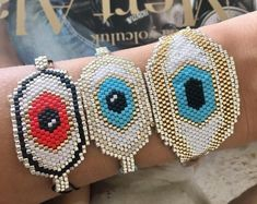 Eye Bracelet - Evil Eye Bracelet - Protection Bracelet - Gift For Her - Turquoise Bracelet - Summer Bracelet - Miyuki Bracelet - Handcrafted Summer Bracelets, Love Bracelets, Evil Eye Bracelet, Heart Bracelet, Bead Loom Bracelets, Seed Beads, Jewelry Collection, Crochet Earrings, Pink