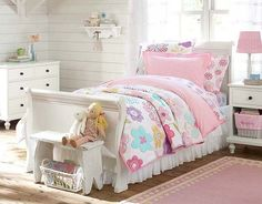 I love the Pottery Barn Kids Avery Flower Bedroom on potterybarnkids.com  I just bought it for Miss Claire's bedroom.  :)