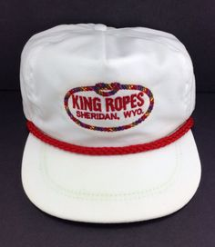 King Ropes Sheridan, Wyoming vintage Strapback Hat White and Red in Clothing, Shoes & Accessories, Men's Accessories, Hats | eBay