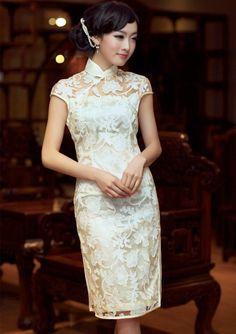 $120.50 Elegant Knee Length Silk Cheongsam Qipao Dress with Beautiful Lace Crochet