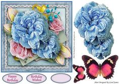 Simplicity 7 on Craftsuprint designed by Carol James - A beautifully simple floral 7 x 7 topper with decoupage pieces and 2 sentiment tags (plus a blank tag)Sentiments include:Birthday WishesHappy Birthday - Now available for download!