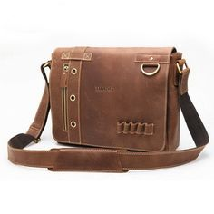 This vintage messenger bags made from excellent leather. Classic flap closure with a zip pocket and five pen-bit. A large open front pocket hide under front flap. A exterior back zip pocket. Inside has a middle zip compartment, a backwall zip pocket, two frontwall slip pocket and two pen-bit....