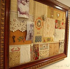 DIY:  Memory Board - scraps of vintage fabric, lace & ribbon are pieced  together.  Inspiration.