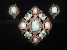 Vtg Sarah Coventry Gold Faux Turquoise Pearl Brooch Pin Earring Necklace Pendant #SarahCoventry  ..... We are TOP RATED * POWER Sellers on EBAY * Selling WORLDWIDE. Visit us at our EBAY STORE * 4COOLSTUFF2BUY with any questions or items for sale.