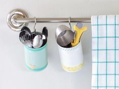 85 Clever Dollar Store Hacks: Keep calm and spend wisely. From budget-friendly decor projects to clever storage hacks, take your space to the next level without spending a fortune. Utensil Storage, Kitchen Storage Hacks, Storage Bins, Storage Containers, Storage Ideas, Utensil Holder, Kitchen Organization, Storage Solutions, Organizing Solutions