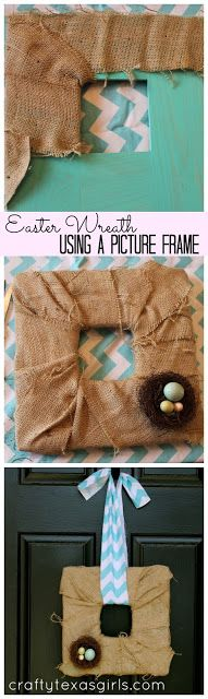 Make a simple Easter wreath using a picture frame with this tutorial.