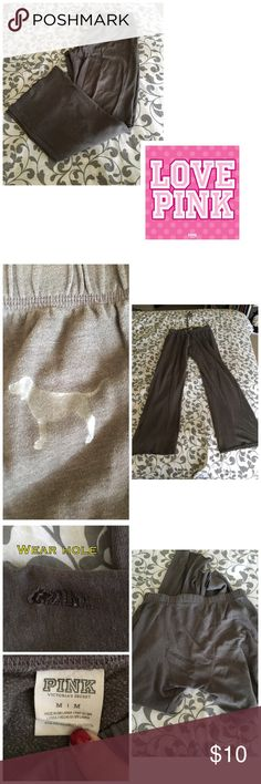 VS Pink gray boyfriend sweatpants Well loved, still great life left. There is a small pull hole at the bottom of one leg, please see all pics. PLEASE, REASONABLE OFFERS ONLY!  -Smoke and pet free - If its $10 or under, I WILL NOT accept offers. -I do not model anything; everything looks different on everyone and I don't wasn't too Jade that. I will put the item on a dress form or find factory pics and provide measurements. -NO HOLDS, NO TRADES, POSH RULES ONLY! PINK Victoria's Secret Pants