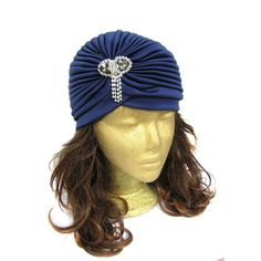 Glamorous vintage style turban hat with rhinestone dangles embellishment, perfect for Great Gatsby, Downton Abbey, Old Hollywood themed party or art