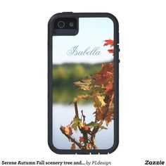 Serene Autumn Fall scenery tree and lake iPhone 5 Cases by #PLdesign #Serene #AutumnScenery #iPhone5Case
