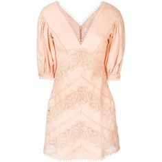 Zimmermann embroidered v-neck dress ($895) ❤ liked on Polyvore featuring dresses, elbow sleeve dress, low v neck dress, pink chevron dress, peach dresses and chevron dresses