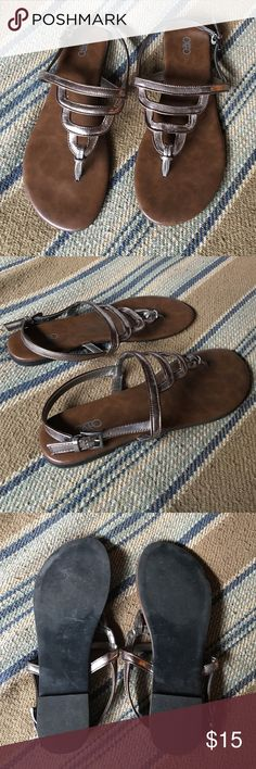Like new worn once Cato metallic sandals Size 9 silver and bronze metallic sandals with buckle closure. Only worn once! Like new condition! Cato Shoes Sandals