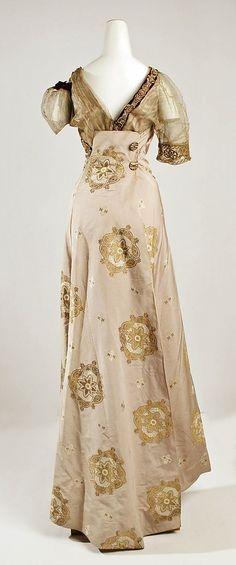 Dress, Evening  Jeanne Hallée  (French, 1880–1914)  Date: 1910–14 Culture: French Medium: silk, metal Dimensions: Length at CB: 51 in. (129.5 cm)