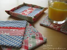 This tutorial will make you four coasters and one coaster cozy. I made these for a friend that just moved into a new house - it makes a great housewarming gift :)    Materials:  Scrap fabrics  Scrap batting  Steam-a-seam