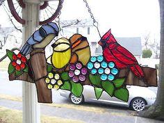 Stained Glass Birds on A Fence Suncatcher Real Glass | eBay