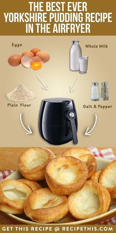 The Best Ever Yorkshire Pudding Recipe In The Airfryer Das beste Yorkshire-Pudding-Rezept aller Zeit Air Fryer Dinner Recipes, Air Fryer Recipes Easy, Oven Recipes, Cooking Recipes, Healthy Cooking, Cooking Tips, Yorkshire Pudding Batter, Yorkshire Pudding Recipes, Traditional Yorkshire Pudding Recipe