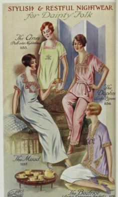 "Circa 1930s ad for ""Stylish & Restful Nightwear for Dainty Folk."""