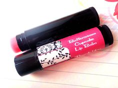 PERSONALIZED Pink and Black Damask Cupcake Lip Balm Party Favors by MajesticSoaps, $1.00