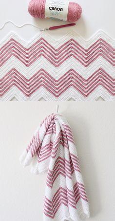 Crochet afghans 310115124340315452 - Free Pattern – Crochet Front Loop Chevron Blanket Source by pfrancesch Crochet Afghans, Crochet Ripple, Crochet Blanket Patterns, Baby Blanket Crochet, Knitting Patterns, Crochet Stitches, Knitting Ideas, Crochet Gratis, Knit Or Crochet