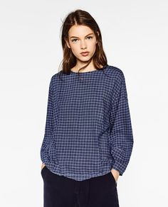 ZARA - WOMAN - CHECKED TOP WITH BACK EMBROIDERY