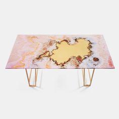 Canyon Marble Dining Table - Pink-Cream | Budri | Monologuelondon.com | Monologue London