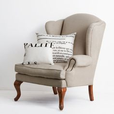 French Linen Wingback Armchair - Handcrafted from solid birch and Linen. This classic french design which gives a regal feel to any library or living space.