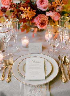 Gold trimming creates a dramatic effect for wedding day table settings and play off perfectly with vibrant fall florals.