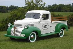 vintage two tone white with green trim Chevrolet Chevy pickup truck - classic Americana