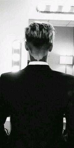 His neck tattoo